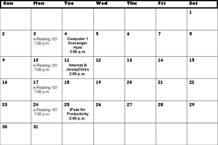 Calendar for Computer Classes August 2015